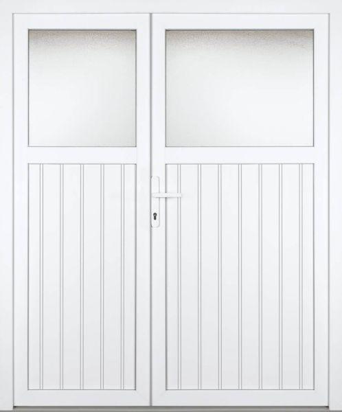"""Kunststoff Nebeneingangstür """"SANDRA"""" 74mm 2-flügelig Doppeltür asymmetrisch"""