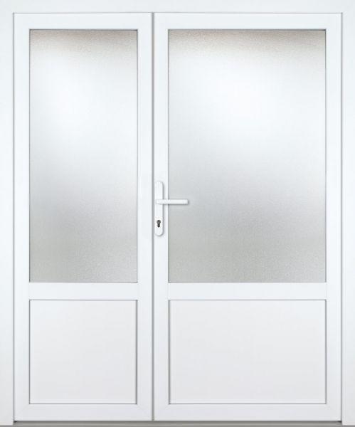 """Kunststoff-Aluminium Nebeneingangstür """"CELINE-M"""" 70mm 2-flügelig Doppeltür asymmetrisch"""