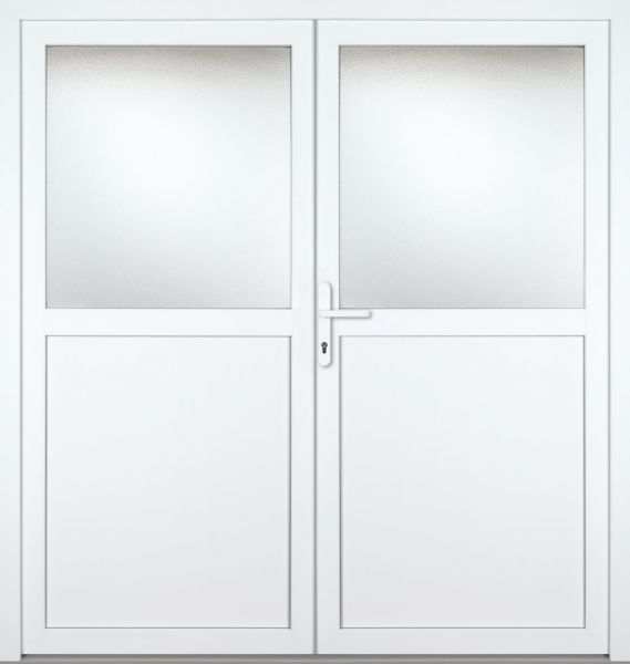 "Kunststoff-Aluminium Nebeneingangstür ""PAULA-M"" 74mm 2-flügelig Doppeltür symmetrisch"