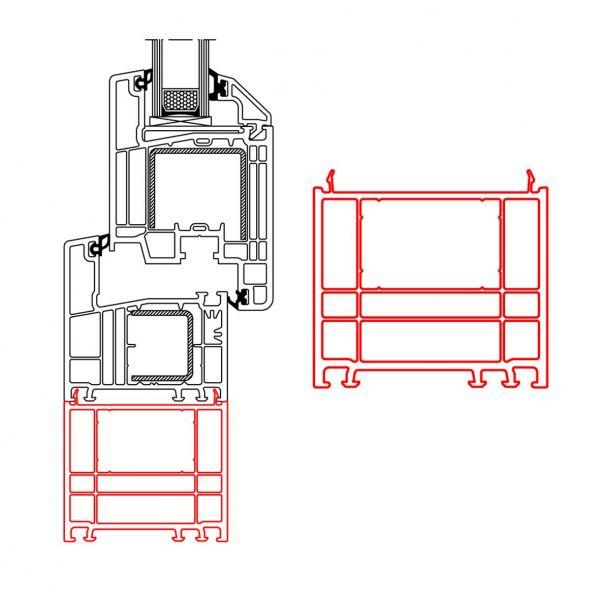 Rahmenverbreiterung für PVC- und ALU-PVC-Türen der Stärke 70mm (60 x 70mm) (Flexible Türmontage)